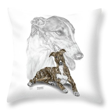 Throw Pillow featuring the drawing Irresistible - Greyhound Dog Print Color Tinted by Kelli Swan