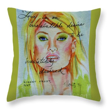 Throw Pillow featuring the painting Irresistible by P J Lewis