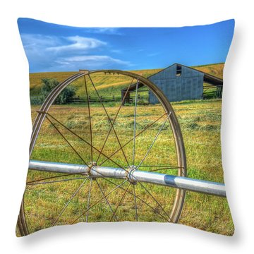 Irrigation Water Wheel Hdr Throw Pillow by James Hammond