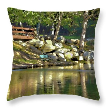 Irvine Park Lake Abstract 1 Throw Pillow