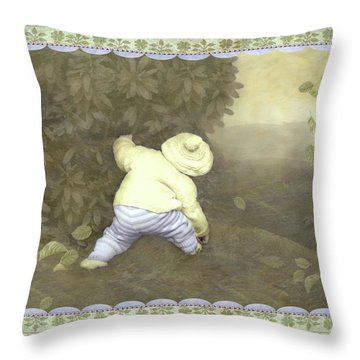 Is Bunny In Bushes? Throw Pillow