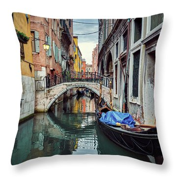 Gondola Parked On Lonely Water Canal In Venice, Italy Throw Pillow