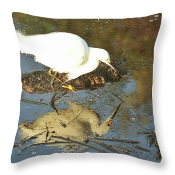 Throw Pillow featuring the pyrography Is That Really Me? by Sally Sperry