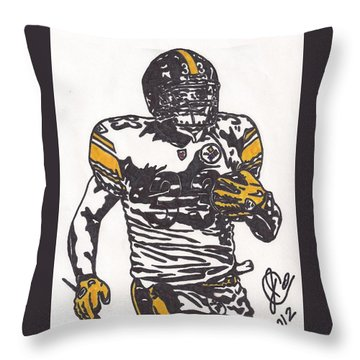 Throw Pillow featuring the drawing Isaac Redman by Jeremiah Colley