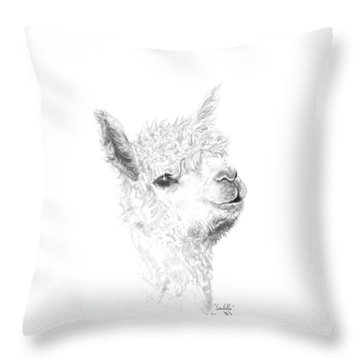 Throw Pillow featuring the drawing Isabella by K Llamas