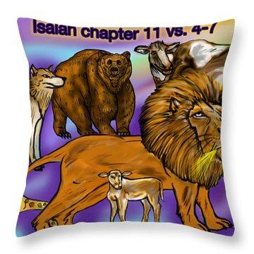 Isaiah 11 Vs 4-7 Throw Pillow