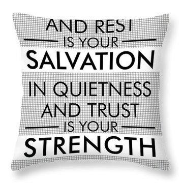 Isaiah 30-15 - Spiritual Wall Art - Bible Verses Art - Minimalist Scripture Throw Pillow