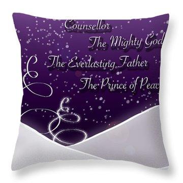 Isaiah Chapter 9 Verse 6 Christmas Card Throw Pillow by Lisa Knechtel