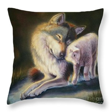 Isaiah Wolf And Lamb Throw Pillow