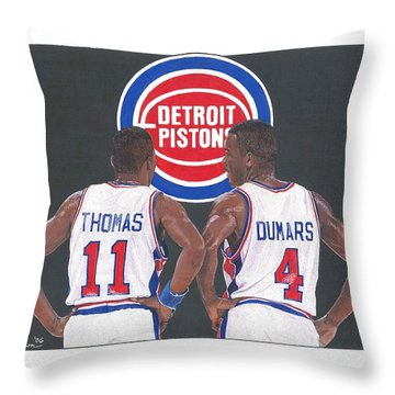 Isiah Thomas And Joe Dumars Throw Pillow