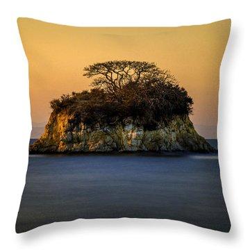 Island At Sunset Throw Pillow