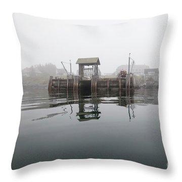 Island Boat Dock Throw Pillow