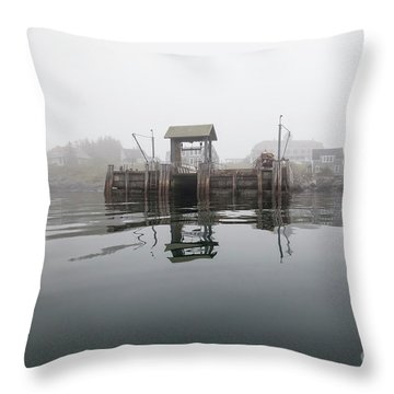 Island Boat Dock Throw Pillow