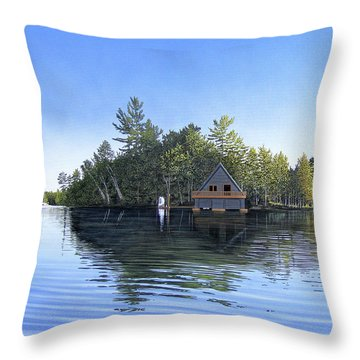 Throw Pillow featuring the painting Island Boathouse Muskoka  by Kenneth M Kirsch