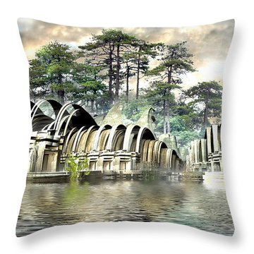Island Bungalows Throw Pillow by Hal Tenny