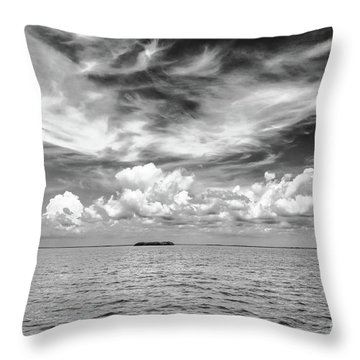 Island, Clouds, Sky, Water Throw Pillow