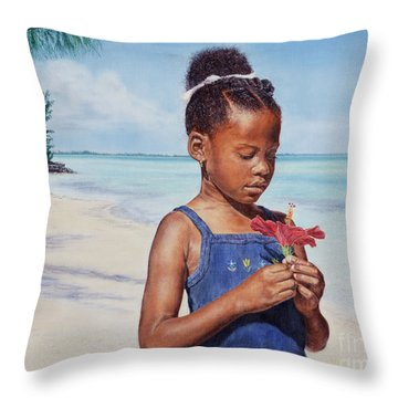 Island Flowers Throw Pillow
