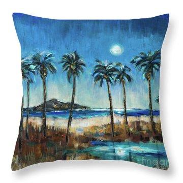 Island Lagoon At Night Throw Pillow