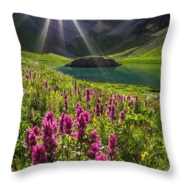 Island Lake Flowers Throw Pillow