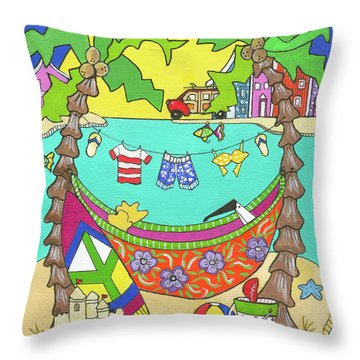 Throw Pillow featuring the painting Island Life by Rosemary Aubut