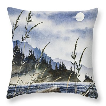 Island Moon Throw Pillow by James Williamson