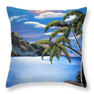 Island Night Glow Throw Pillow by Luis F Rodriguez