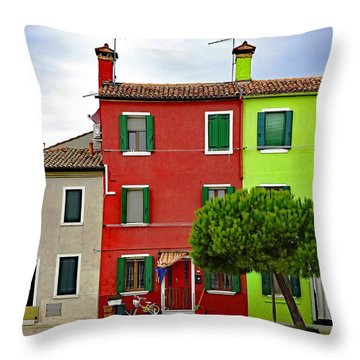 Island Of Burano Tranquility Throw Pillow