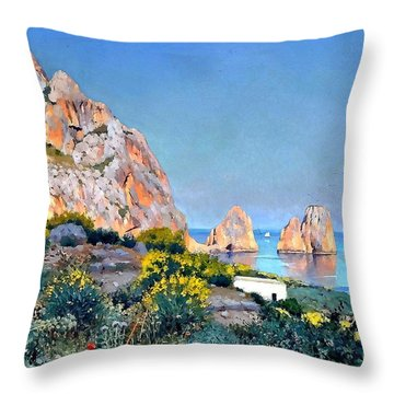 Throw Pillow featuring the painting Island Of Capri - Gulf Of Naples by Rosario Piazza