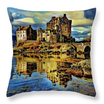 Eilean Donan Castle Digital Art Throw Pillows