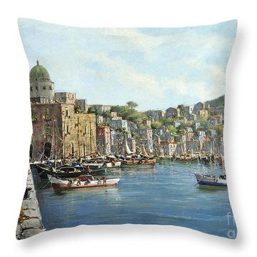 Island Of Procida - Italy- Harbor With Boats Throw Pillow