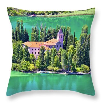 Island Of Visovac Monastery In Krka  Throw Pillow by Brch Photography