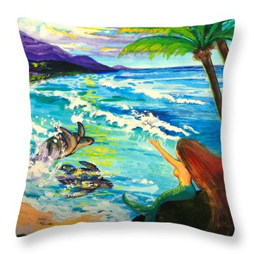 Island Sisters Throw Pillow