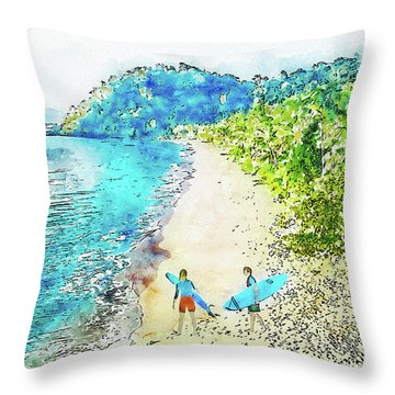 Island Surfers Throw Pillow