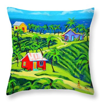Island Time - Colorful Houses Caribbean Cottages Throw Pillow by Rebecca Korpita