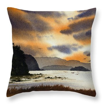 Throw Pillow featuring the painting Islands Autumn Sky by James Williamson