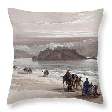 Isle Of Graia Gulf Of Akabah Arabia Petraea Feby 27th 1839 Throw Pillow by Munir Alawi