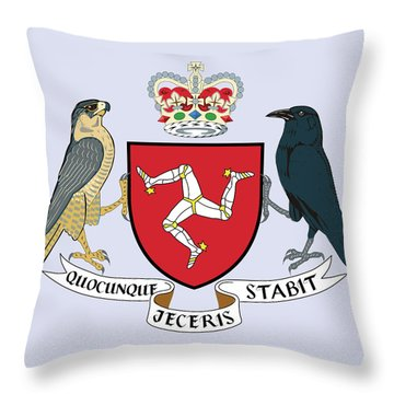 Throw Pillow featuring the drawing Isle Of Man Coat Of Arms by Movie Poster Prints