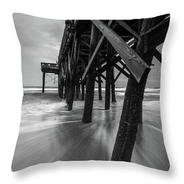 Isle Of Palms Pier Water In Motion Throw Pillow