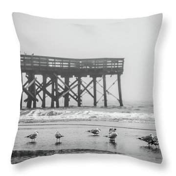 Isle Of Palms Pier And Fog Throw Pillow