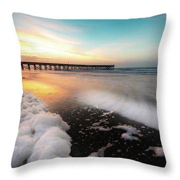 Isle Of Palms Pier Sunrise And Sea Foam Throw Pillow