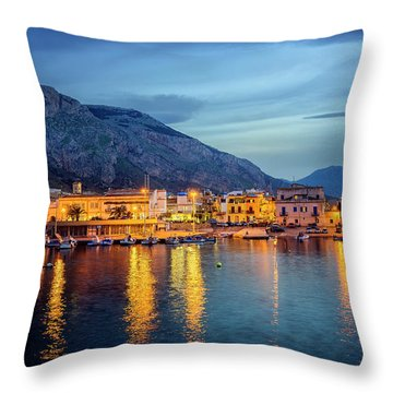 Isola Delle Femmine Harbour Throw Pillow