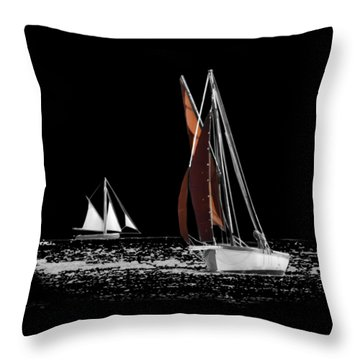 Isolated Yacht Carrick Roads On A Transparent Background Throw Pillow