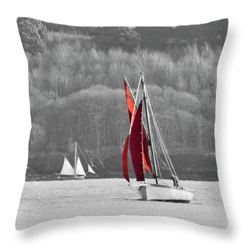 Isolated Yacht Carrick Roads Throw Pillow