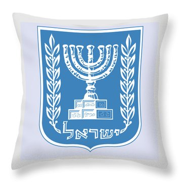 Throw Pillow featuring the drawing Israel Coat Of Arms by Movie Poster Prints