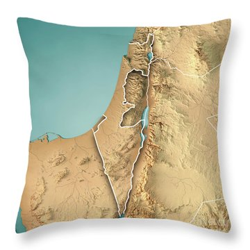 Israel Country 3d Render Topographic Map Border Throw Pillow