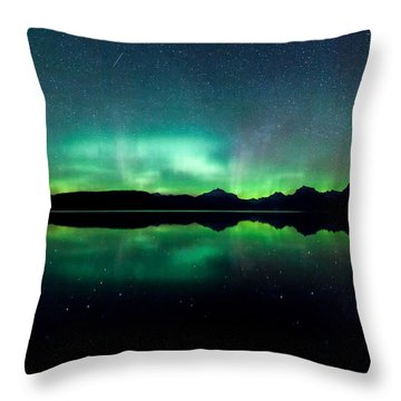 Throw Pillow featuring the photograph Iss Aurora by Aaron Aldrich