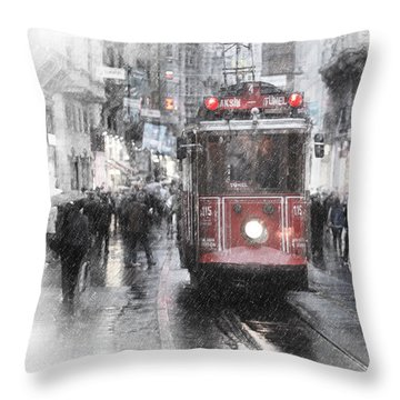 Istambool Historic Tram Throw Pillow