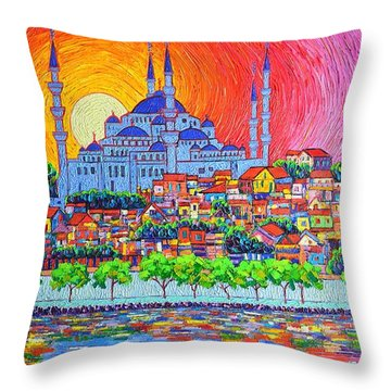 Istanbul Blue Mosque Sunset Modern Impressionist Palette Knife Oil Painting By Ana Maria Edulescu    Throw Pillow