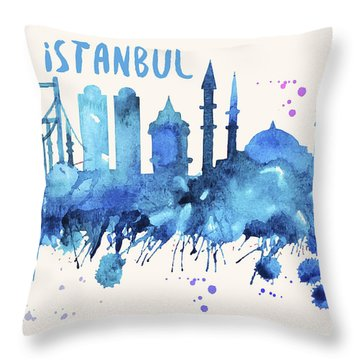 Istanbul Skyline Watercolor Poster - Cityscape Painting Artwork Throw Pillow