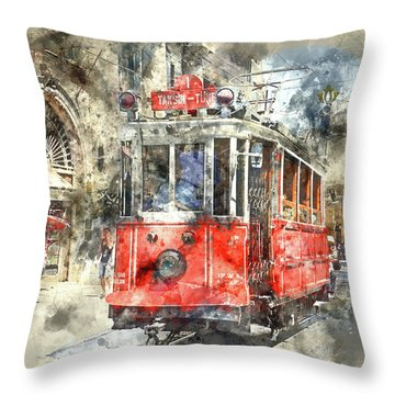 Istanbul Turkey Red Trolley Digital Watercolor On Photograph Throw Pillow